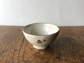 白化粧色絵 ミニ茶碗 ツバキの画像