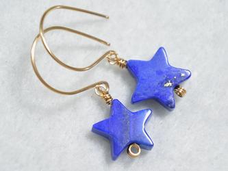 (1点もの)14kgf・ラピスラズリの青い星ピアスの画像
