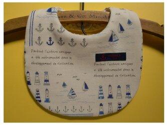 PURE*スタイ*Wガーゼ 手書き風マリン柄 ブルー系 海 ヨット イカリ 岬の画像