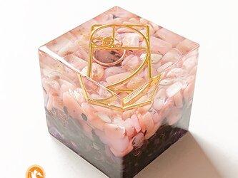 [受注製作]キューブオルゴナイト DOUBLE heart cube100200004の画像
