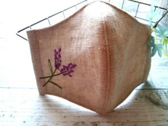 送料無料✴涼しげなリネンのラベンダー刺繍マスクの画像