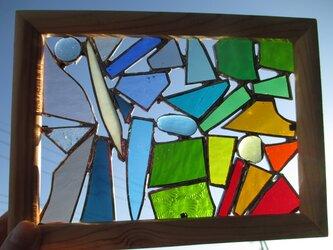 ステンドグラス ミニパネル ガラスのパッチワークの画像