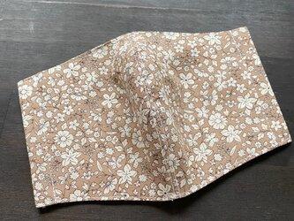 洋服屋さんの立体マスク*送料無料・花柄ベージュ・コットンの画像