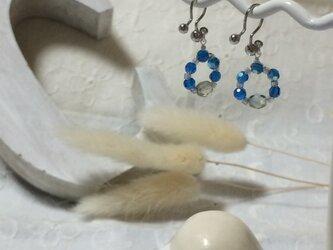 ビーズリースのイヤリング(ブルー)の画像
