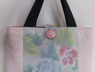 4893 絞りと花柄の着物で作った手提げ袋 #送料無料の画像