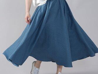 【wafu】やや薄地 リネン サーキュラースカート フレアスカート ミモレ丈 /薄縹(うすはなだ) s002f-ush1の画像