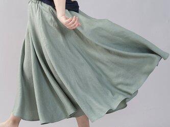 【wafu】やや薄地 リネン サーキュラースカート フレアスカート ミモレ丈 /青磁鼠(せいじねず) s002f-snz1の画像