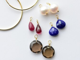 [PE] Charm Set I Hoop Pierced Earringの画像