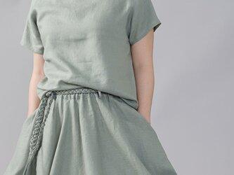 【wafu】やや薄地 リネン Tシャツ リネンブラウス 男女兼用 ユニセックス 半袖/青磁鼠(せいじねず) t038f-snz1の画像