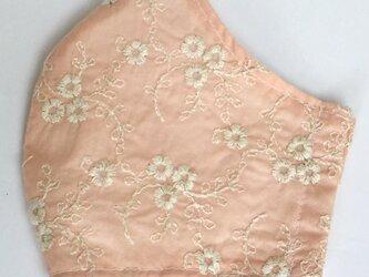 夏用立体マスク コットン刺繍・桜ベージュの画像