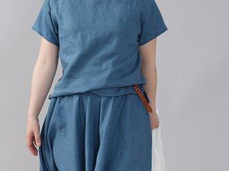 【wafu】やや薄地 リネン Tシャツ リネンブラウス 男女兼用 ユニセックス 半袖/薄縹(うすはなだ) t038f-ush1の画像