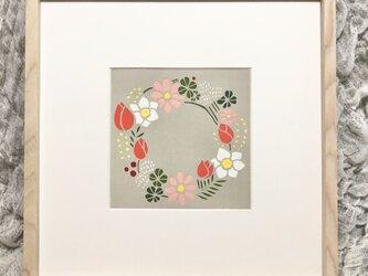 【切り絵アート】四季の花のリースの画像