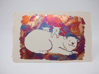 ギルディング和紙葉書 polar bear シロクマ 赤混合箔の画像