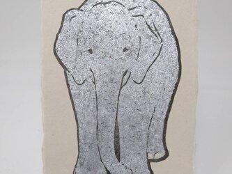 ギルディング和紙葉書 ゾウ 銀箔の画像