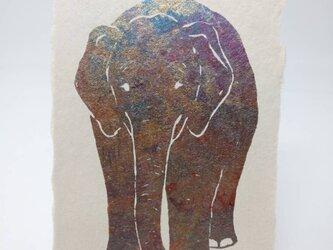 ギルディング和紙葉書 ゾウ 青混合箔の画像