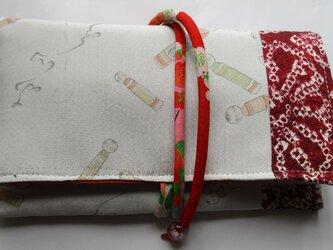 4894 羽織裏と絞りの羽織で作った和風財布・ポーチ #送料無料の画像