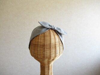 リボンのヘアバンド ヴィンテージブルー、ダブルガーゼの画像