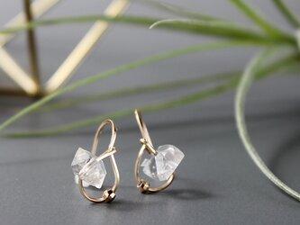 14Kgf ハーキマーダイヤモンドのしずくピアス / イヤリング 4月誕生石の画像
