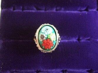 銀七宝 指輪 小判 ミルフィオリ 艶ありクロム の画像
