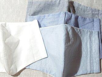 マスク 2枚セット メンズサイズ 夏仕様 ブルー系&白の画像