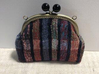 ☆手織り かわいいがま口ポーチ♪バッグにもなりますの画像