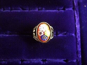 銀七宝 指輪 小判 ミルフィオリ 艶ありブロンズ調 の画像