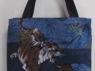 4895 藍大島紬と長襦袢で作った手提げ袋 #送料無料の画像
