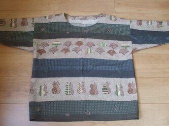 男物長襦袢新反から扇面・瓢箪柄のシンプルTシャツ風チュニック モスリンの画像