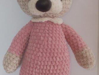 もこもこ編みぐるみ☆スリーピングくまさん☆ルームウェア☆ピンクの画像