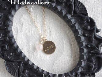 LOVEと愛の石のネックレス*14KGF*ローズクォーツの画像