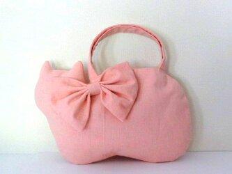 大きなリボン リネンのネコバッグ*ピンクの画像