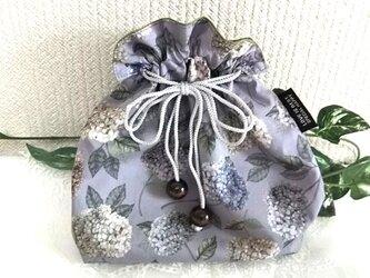 リバティ紫陽花パープルの巾着袋の画像