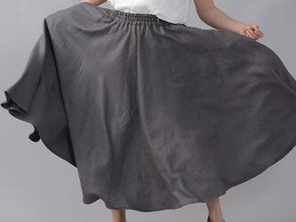【wafu】やや薄地 リネン サーキュラースカート フレアスカート ミモレ丈 /鈍色(にびいろ) s002f-nib1の画像