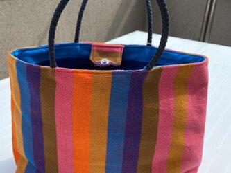 【新商品!】スリランカ布のトートバッグの画像