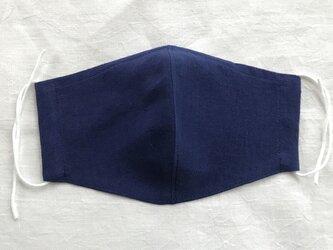 2枚組 リネンマスク「大きめ」ノーズフィッター入り 青みの紺の画像