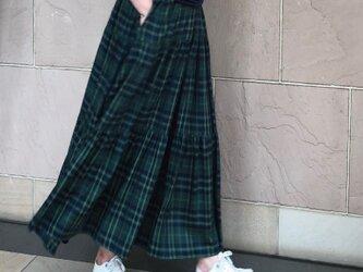 グリーンチェック ティアードギャザースカート 受注製作の画像