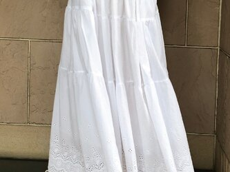 しろ 裾レース ティアードギャザースカート 受注製作の画像
