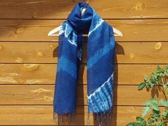 Sale コットンリネンの藍染絞りストールの画像