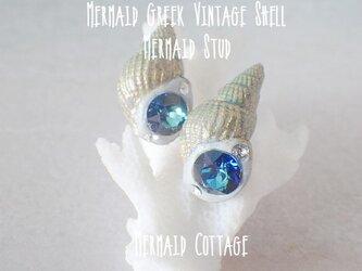 Mermaid Greek Vintage Shell*Mermaid Stud*バミューダブルーの画像