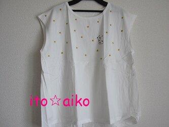 爽やか♪小さい三日月☆キラキラ金ラメドットとキリンシャツ♪(シロ)の画像