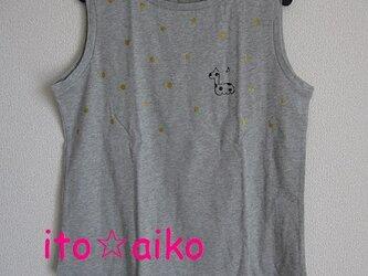 ラメとキリン☆キラキラキュートなノースリーブシャツ(グレー)の画像