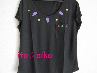 レーヨンのてろん感が良し♪エスニック調☆カラフルTシャツ☆☆(クロ)の画像