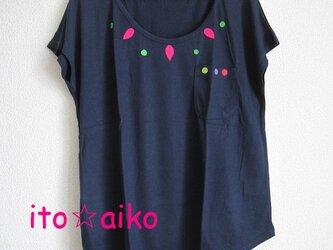 レーヨンのてろん感が良し♪エスニック調☆カラフルTシャツ☆☆(ネイビー)の画像