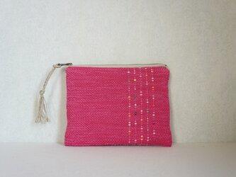 裂き織りのフラットポーチ ピンクの画像