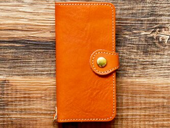 栃木レザー スマホケース 2Way  2.0 iPhone Android 対応 手帳型  真鍮  オレンジ JAK044の画像