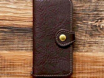 栃木レザー スマホケース 2Way  2.0 iPhone Android 対応 手帳型 真鍮 ブラウン JAK044の画像
