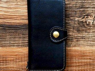 栃木レザー スマホケース 2Way  2.0 iPhone Android 対応 手帳型  真鍮 ブラック JAK044の画像