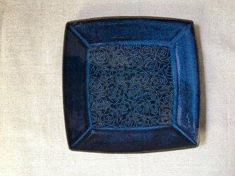 NO.12角皿(バラ柄)青の画像