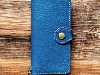 栃木レザー スマホケース 2Way  2.0 iPhone Android 対応 手帳型 真鍮 ネイビー JAK044の画像