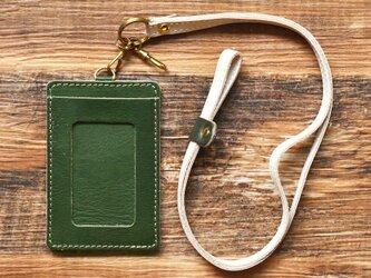 栃木レザー IDケース ネックストラップ付き ICケース パスケース 定期入れ 定期ケース カードケース 本革 牛革 グリーンの画像